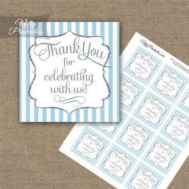 Light Blue White Silver Stripe Thank You Favor Tags