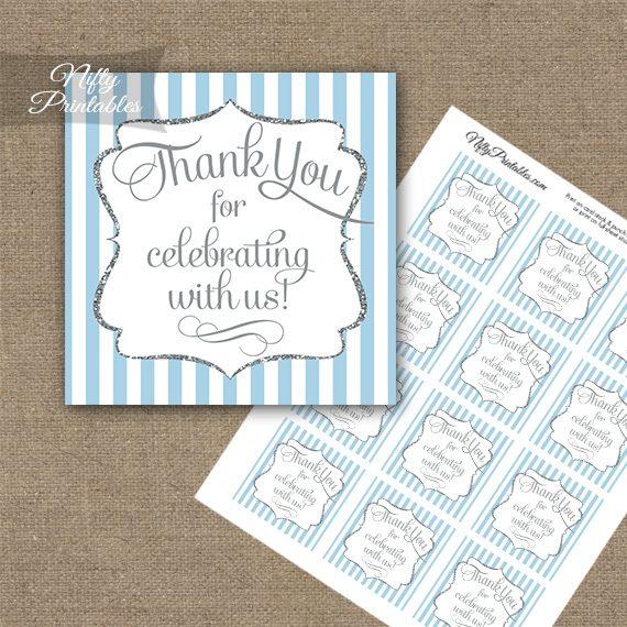 Light Blue White Silver Stripe Thank You Favor Tags