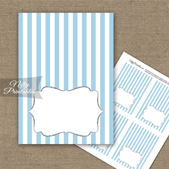 Light Blue Silver Stripe Folded Tent Place Cards