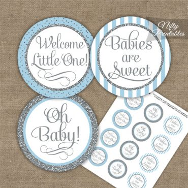 Baby Shower Cupcake Toppers - Light Blue Silver Stripe