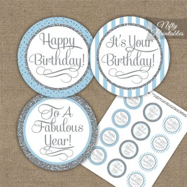 Happy Birthday Cupcake Toppers - Light Blue Silver