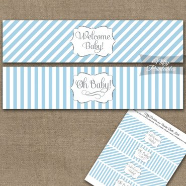 Baby Shower Water Bottle Labels - Light Blue Silver Stripe