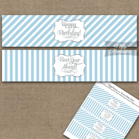 Happy Birthday Water Bottle Labels - Light Blue Silver