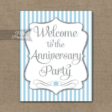 Anniversary Welcome Sign - Light Blue Silver Stripe
