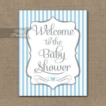 Baby Shower Welcome Sign - Light Blue Silver Stripes