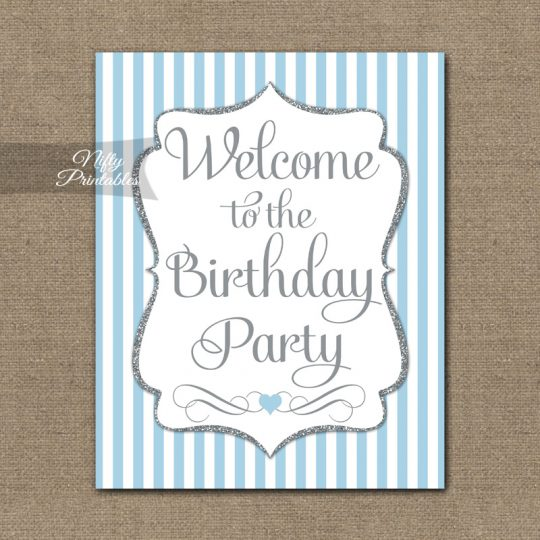 Happy Birthday Welcome Sign - Light Blue Silver Stripe