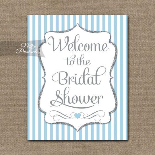 Bridal Shower Welcome Sign - Light Blue Silver Stripes