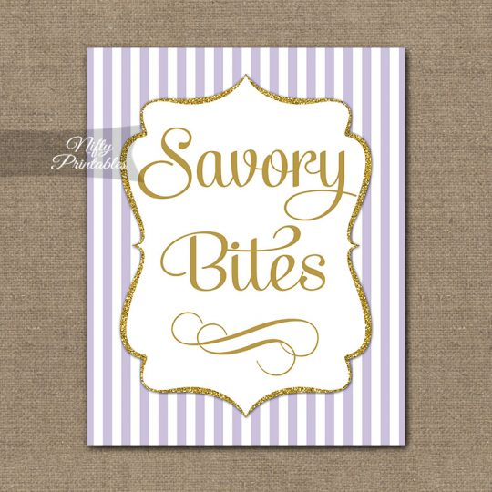 Savory Food Sign - Lilac Gold Stripe