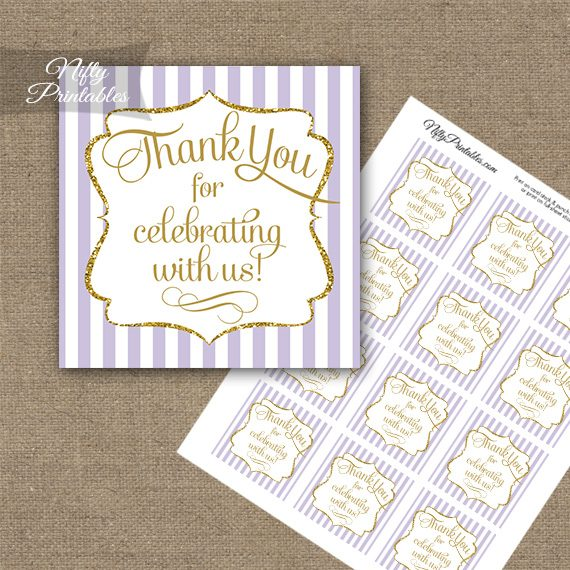 Lilac White Gold Stripe Thank You Favor Tags