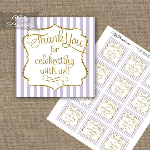Lilac White Gold Stripe Thank You Favor Tags