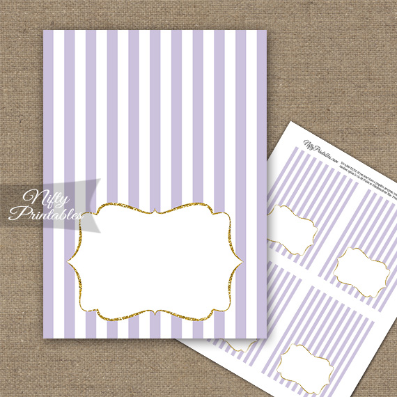 Lilac Gold Stripe Folded Tent Place Cards