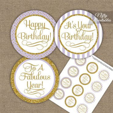 Happy Birthday Cupcake Toppers - Lilac Gold Stripe