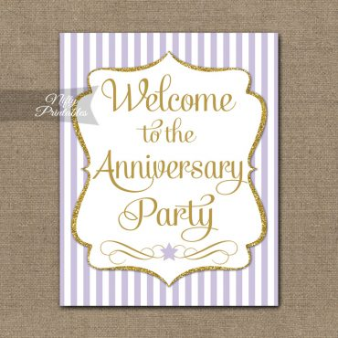 Anniversary Welcome Sign - Lilac Gold Stripe
