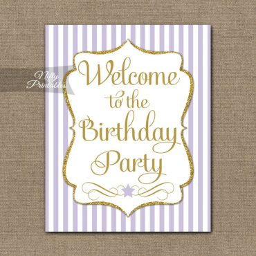 Happy Birthday Welcome Sign - Lilac Gold Stripe