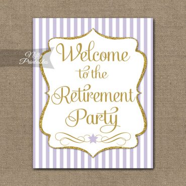 Retirement Welcome Sign - Lilac Gold Stripe