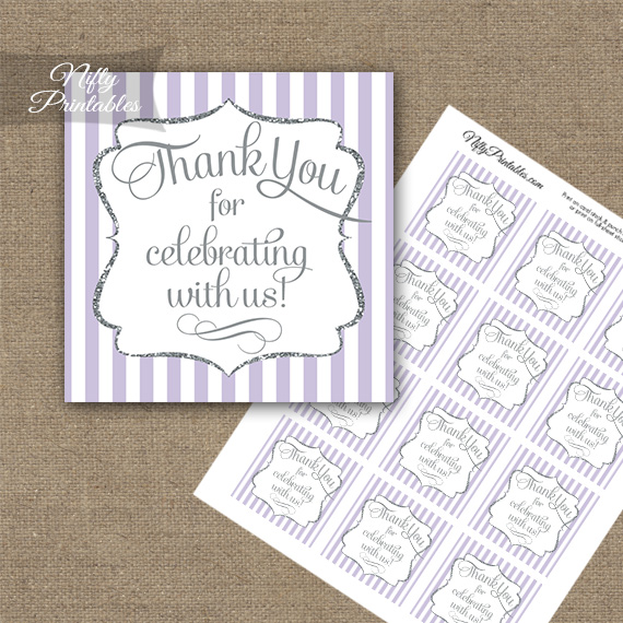 Lilac White Silver Stripe Thank You Favor Tags