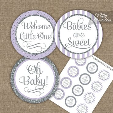 Baby Shower Cupcake Toppers - Lilac Silver Stripe