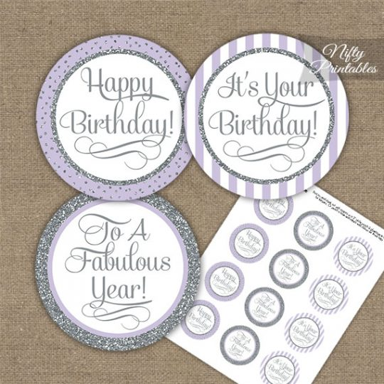 Happy Birthday Cupcake Toppers - Lilac Silver Stripe
