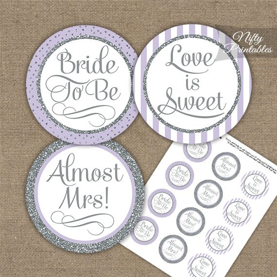 Bridal Shower Cupcake Toppers - Lilac Silver Stripe