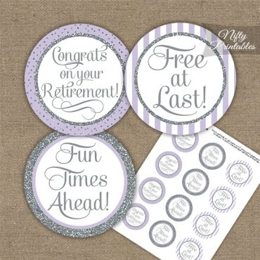Retirement Cupcake Toppers - Lilac Silver Stripe