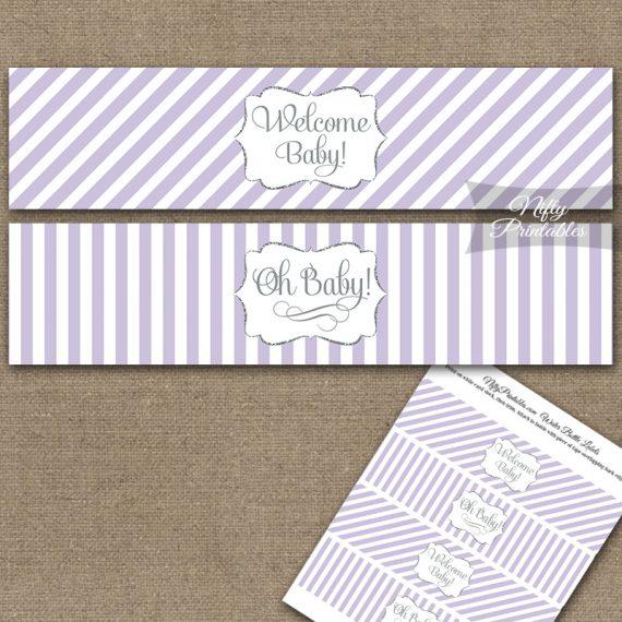 Baby Shower Water Bottle Labels - Lilac Silver Stripe