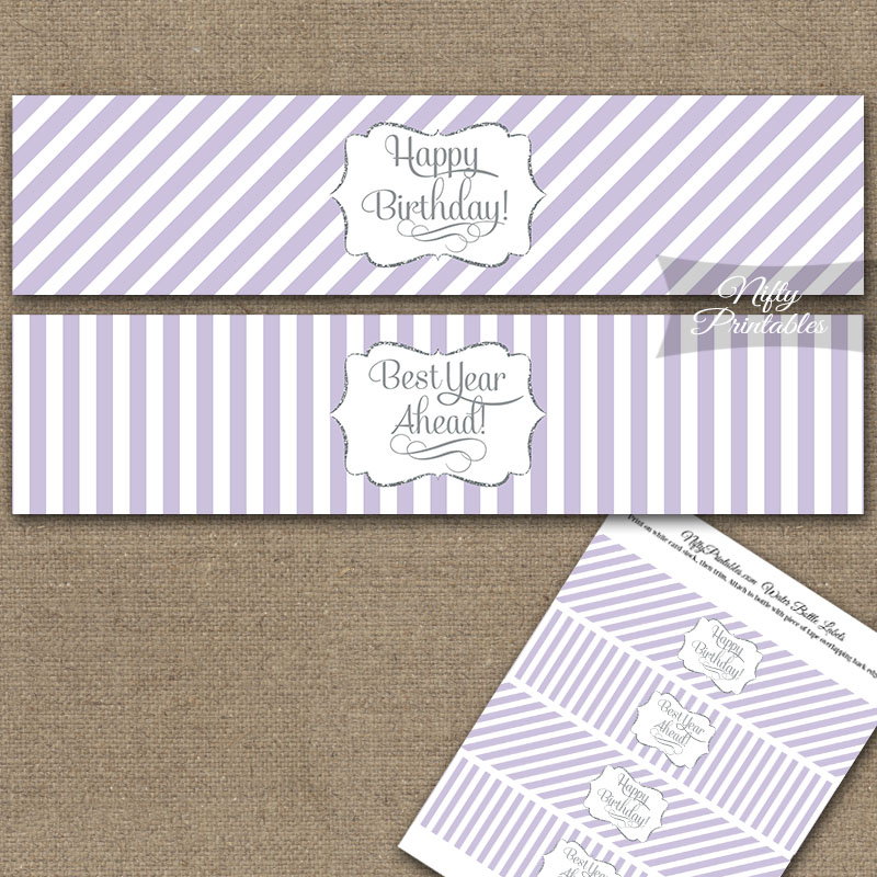 Happy Birthday Water Bottle Labels - Lilac Silver Stripe