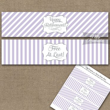 Retirement Water Bottle Labels - Lilac Silver Stripe
