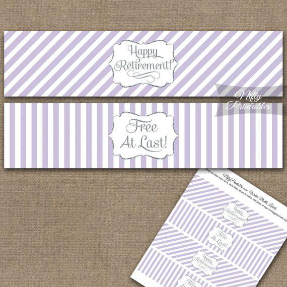 Retirement Water Bottle Labels - Lilac Silver Stripe