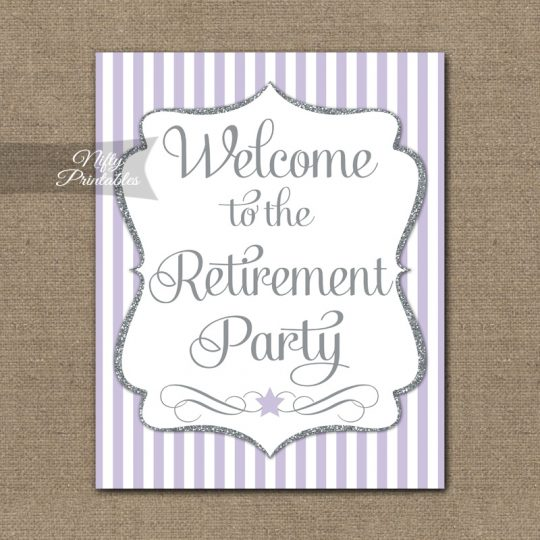 Retirement Welcome Sign - Lilac Silver Stripe