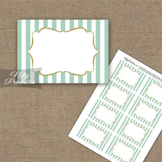 Mint Green Gold Stripe Blank Labels