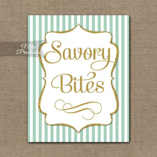 Savory Food Sign - Mint Gold Stripe