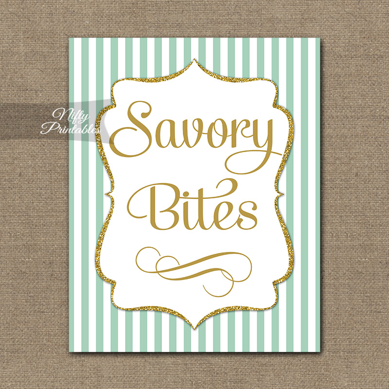Savory Food Sign - Mint Gold Stripe