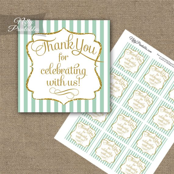 Mint Green White Gold Stripe Thank You Favor Tags