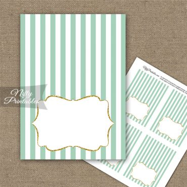 Mint Green Gold Stripe Folded Tent Place Cards