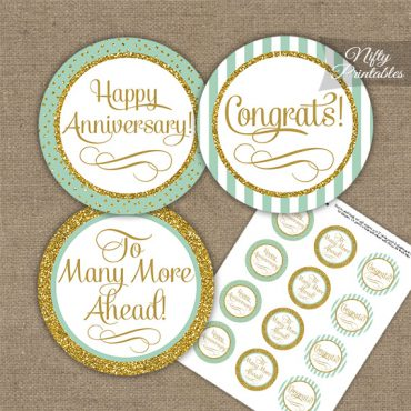 Anniversary Cupcake Toppers - Mint Gold Stripe