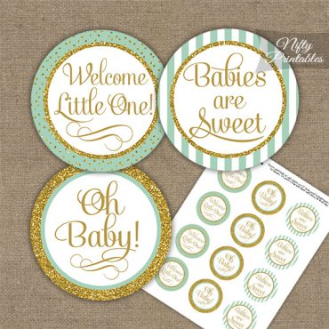 Baby Shower Cupcake Toppers - Mint Gold Stripe