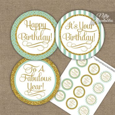 Happy Birthday Cupcake Toppers - Mint Gold Stripe
