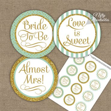 Bridal Shower Cupcake Toppers - Mint Gold Stripe