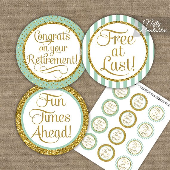 Retirement Cupcake Toppers - Mint Gold Stripe