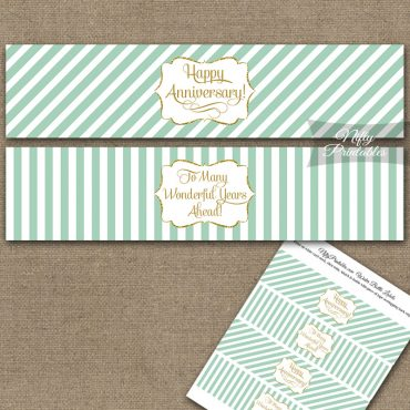 Anniversary Water Bottle Labels - Mint Gold Stripe