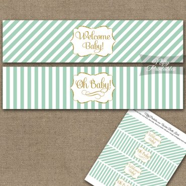Baby Shower Water Bottle Labels - Mint Gold Stripe