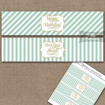 Happy Birthday Water Bottle Labels - Mint Gold Stripe
