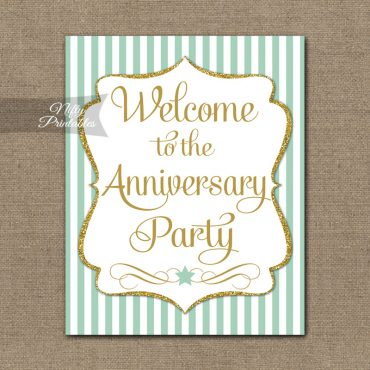 Anniversary Welcome Sign - Mint Gold Stripe