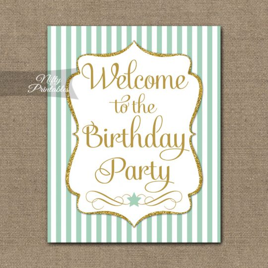 Happy Birthday Welcome Sign - Mint Gold Stripe