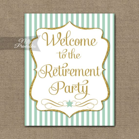Retirement Welcome Sign - Mint Gold Stripe