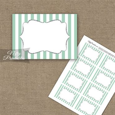 Mint Green Silver Stripe Blank Labels