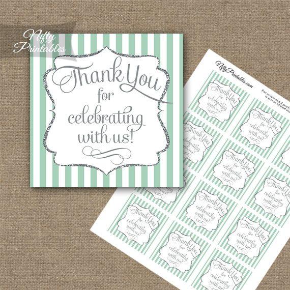 Mint Green White Silver Stripe Thank You Favor Tags