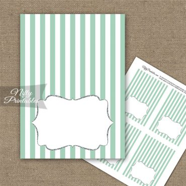Mint Green Silver Stripe Folded Tent Place Cards
