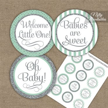 Baby Shower Cupcake Toppers - Mint Silver Stripe