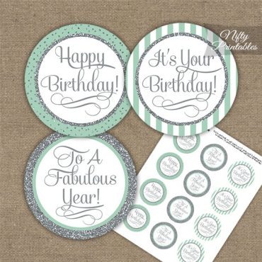 Happy Birthday Cupcake Toppers - Mint Silver Stripe